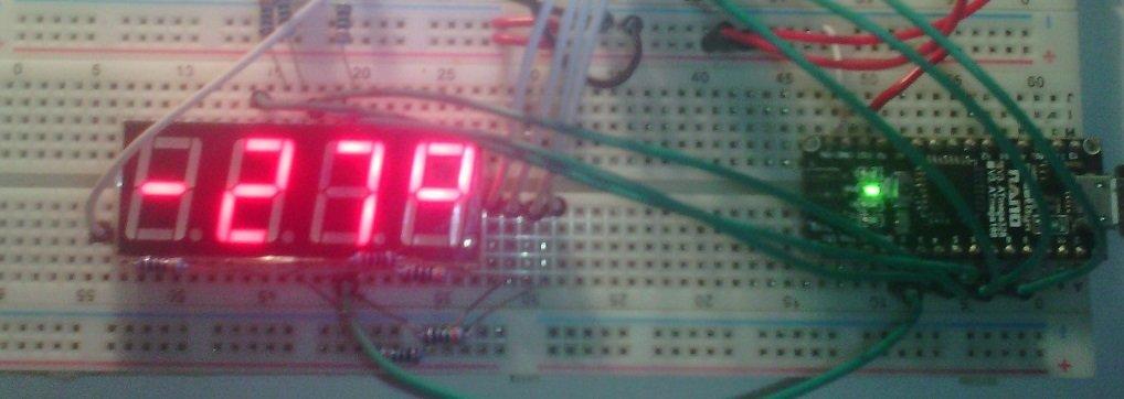 4-разрядный 7-сегментный индикатор hs420561k-32 в связке с 74HC595  и arduino